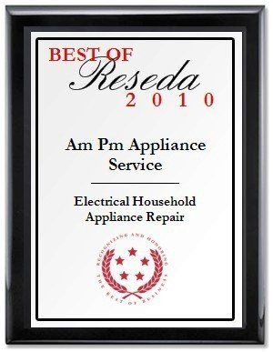 Image of award2010,AMPM appliance repair service specialists,California
